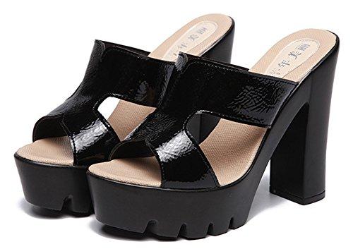 Sandales Classique Mules Haut 14cm Femme Ouverte Bouche Noir Talon Aisun 8qwxZBPp