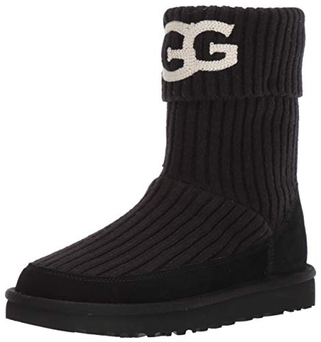 UGG Women's Classic Knit Fashion Boot, Black, 9 M US (Knit Boots Uggs)