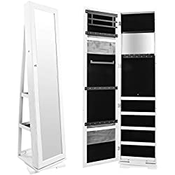 Bonnlo Jewelry Armoire Cosmetic Organizer, Mirrored Jewelry Closet Cabinet, Over The Door Mirror Wall, Lockable Mounted Cabinet, Full Length Mirror Solid Construction (Rotate 360 Degrees)