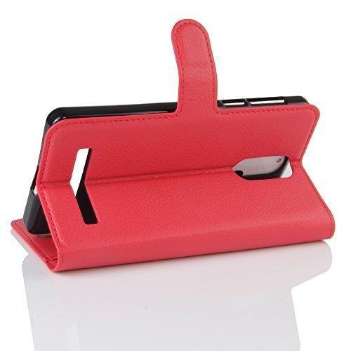 Lusee® PU Caso de cuero sintético Funda para Leagoo M8 / M8 Pro 5.7 Pulgada Cubierta con funda de silicona negro rojo