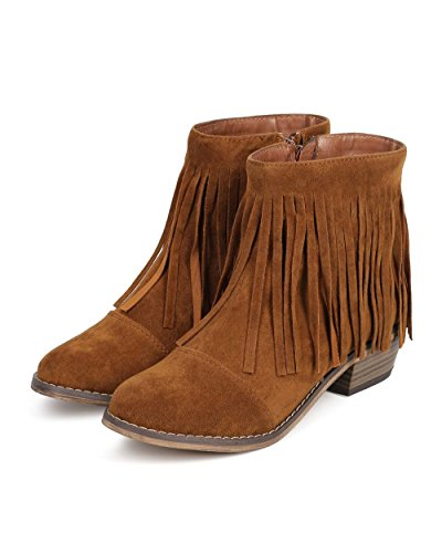 Fourever Funky Women's Vegan Suede Fringe Round Toe Cowgirl Ankle Boots Tan 7fN2Ep2s