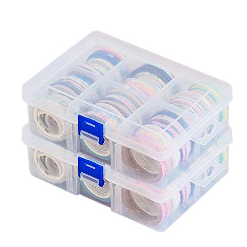 Washi Tape Box Organizer Storage Divider Closet Container with 6 Adjustable Compartments, Masking Tape Desktop Tape DIY Sticker Roll Tape Holder Storage