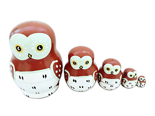 xqing Matryoshka Russian Doll Lovely Mini Animal Theme Wise Smart Owl Nesting Dolls Handmade Set of 5 Perfect for Kids Girl Christmas Birthday Gift Home -