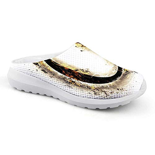 Letter O Stylish Summer Mesh Sandals,Alphabet on Fire Abstract Concept Hot and Fiery Letter O Plasma Smoky Look Decorative for Women,US 12