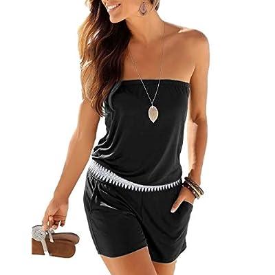 Sexyshine Women Strap Off Shoulder Printed Beachwear Tank Short Romper Jumpsuits: Clothing