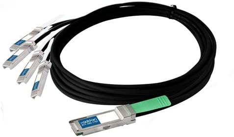 Passive Twinax, 3m Direct Attach Cable AddOn Arista Networks CAB-Q-S-3M Compatible TAA Compliant 40GBase-CU QSFP to 4xSFP