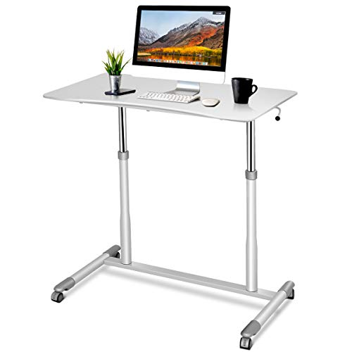 Tangkula Standing Desk Computer Desk, Height Adjustable Sit Stand Desk with 4 Movable Wheels, Portable Writing Study Laptop Table of Iron Pipe Frame, MDF, PVC Tabletop, for Home Office Dorm - White