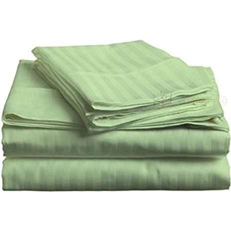 Price comparison product image Bedding 4 PCs Sheet Set 100% Pure Cotton 600 Thread Count Fitted Sheet fits upto 15 Inch Deep Pocket mattress (Sage Stripe, King Size) By Sleep well