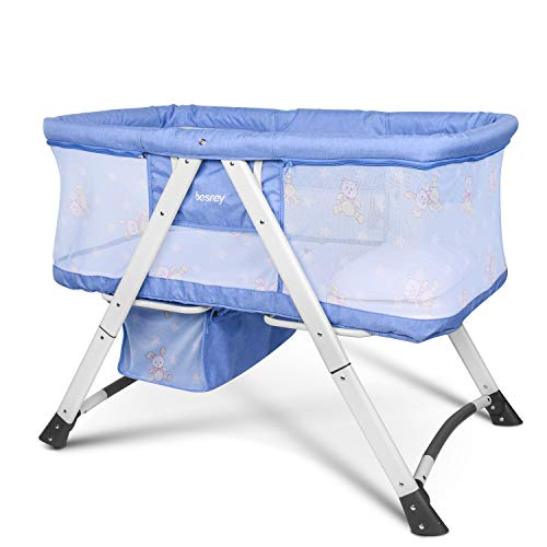 Best Deals! besrey Baby Bassinet 2 in 1 Travel Crib Baby Bed with Breathable Net/Harmless Mattress/Q...