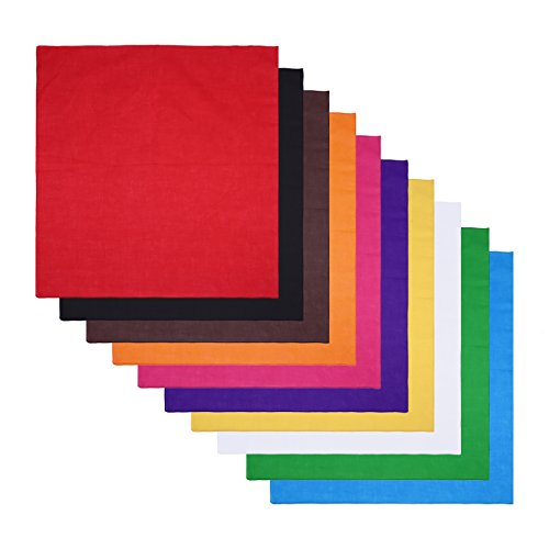 HDE 10-Pack of Assorted 100% Cotton Bandanas Solid Color Handkerchief Head Wraps