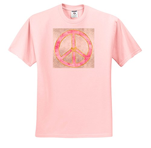 Pink Peace Heart (PS Inspiration - Pink Gold Watercolor Heart Peace Sign - T-Shirts - Youth Light-Pink-T-Shirt Large(14-16) (ts_280751_46))