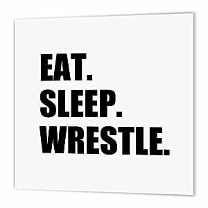 3dRose Eat Sleep Wrestle - Black Text Wrestling Fan Wrestler Sport Enthusiast - Iron On Heat Transfer, 10 10-inch White Material (ht_180458_3)