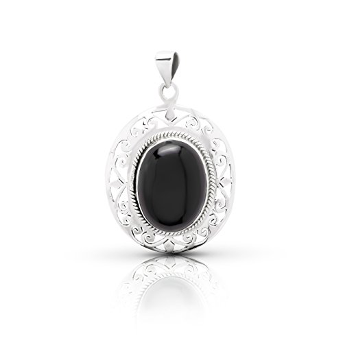 Black Onyx Oval Stone Lace Pendant Sterling Silver 925 Ethnic Vintage Look
