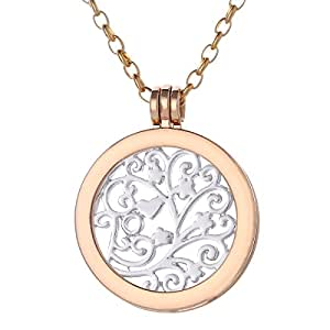Morella ladies' necklace 70 cm stainless steel with jewelry coin Zirconia coin pendant 33 mm rosegold S3t1UPqTiF