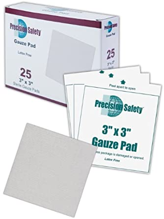 "Magid GZPD3X3 White Cotton 4-Ply Precision Safety Sterile Latex-Free Woven Gauze Pad, 3"" Length x 3"" Width (Case of 2500)"