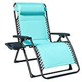 GOLDSUN Oversize XL Padded Zero Gravity Lounge Patio Chair Adjustable Reclining Lounger with Utility Cup Tray Support 350 LBS-Blue