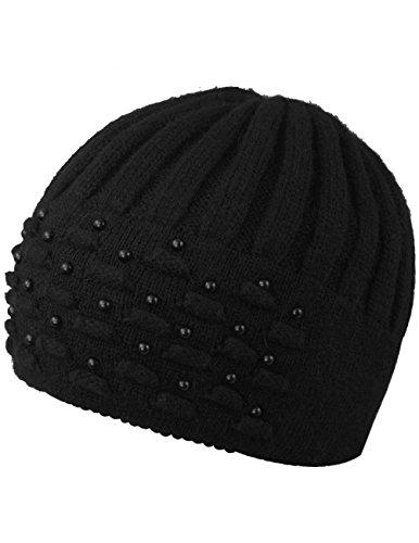 Dahlia Women's Angora Blend Beanie Hat - Dual Layer Pearl Accent Edge - Black