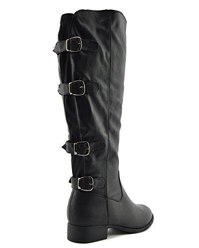 Donne Footwear Stivali Invernali High The Over Elastico Stretch Pannello Knee Nero Kick Fibbia Saw5qxda