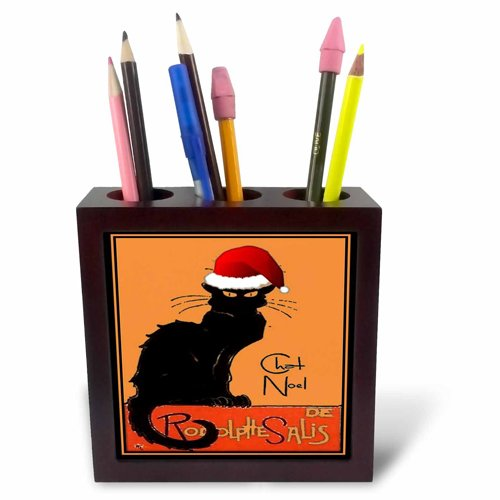 3dRose ph_47077_1 Le Chat Noel-Advertising, Art Nouveau, Black Cat, Cat, Cats, Chat Noir, Le Chat-Tile Pen Holder, 5-Inch (Holder Tile Pen Pencil)