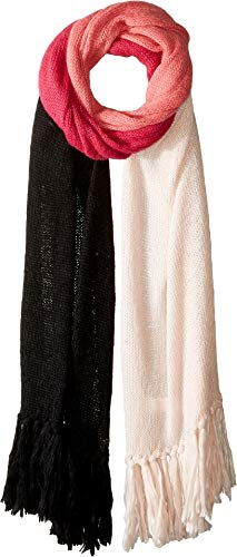 Kate Spade New York Women's Brushed Colorblock Blanket Scarf, Rose Dew/Begonia/Black, One Size