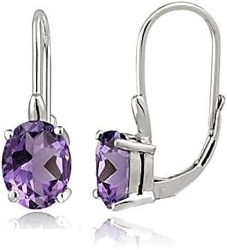 Sterling Silver Choice of Gemstone Birthstone Oval Leverback Earrings