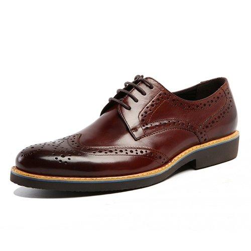 LHLWDGG.K Zapatos Oxford De Cuero Hechos A Mano De Los Hombres De Cuero Transpirable Zapatos De Vestir Tallados Vestido Formal De La Plataforma De Los Hombres, Rojo Vino, 7 7|Wine Red