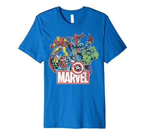 - Marvel Avengers Team Retro Comic Vintage Premium T-Shirt