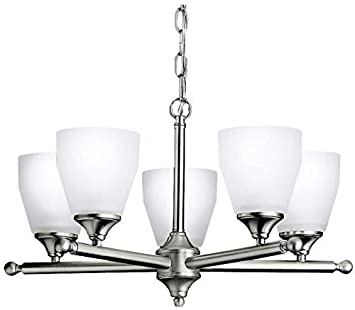 Kichler 1748NI, Ansonia Glass 1 Tier Chandelier Lighting, 5 Light, 500 Total Watts, Brushed Nickel