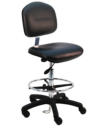 - Deluxe Vinyl Ergonomic ESD Anti Static Chair/Stool with Footring, 450 lbs Capacity, 19