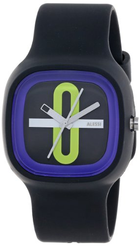 Alessi Kaj Watch (Alessi Men's AL10020 Kaj Polyurethane Black with Decoration Green Designed by Karim Rashid Watch )