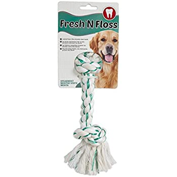 Booda Fresh N Floss 2 Knot Bone Rope Dog Toy, Large, Spearmint