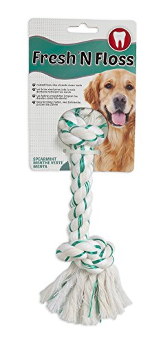 Booda Fresh N Floss 2 Knot Bone Rope Dog Toy, Large, Spearmint (Large Dog Toys Rope)