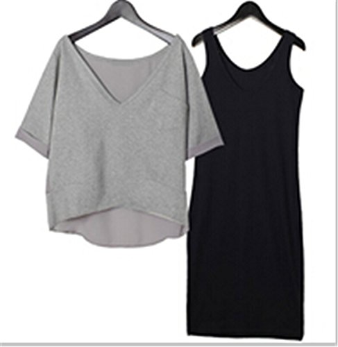 Sicong2 Up-to-Datestyle Womens autumn dress 2016 summer 2 piece set women for t shirt dress Camisole two piece plus size dress woman outfits Light greyM - Gabbana Meaning