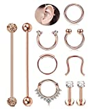Milacolato 316L Stainless Steel Industrial Barbell Cartilage Daith Earring Horseshoe Septum Nose Rings Women Men Clicker Piercing Jewelry Rose-gold