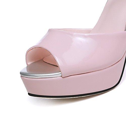 Allhqfashion Hebilla Para Mujer Peep Toe Tacones Altos Sandalias De Cuero De Charol Rosa