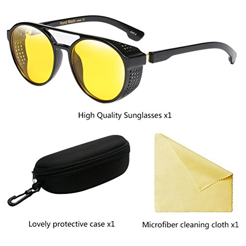 Zhuhaitf de Mode Soleil Lunettes Protection Rétro UV Yellow Cercle Hommes Femmes Ombres pour Eyewear RtRxrqSwA