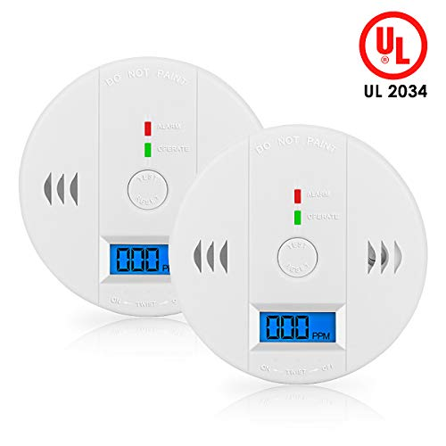 CO Detector, AUKA Monoxide Alarm LCD Portable Security Gas CO Monitor, Battery Powered-2 Pack with UL2034 Listed (3AABattery not included)