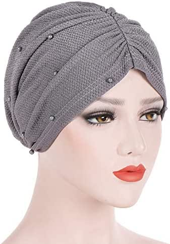 Dressin_Hat Women Beading India Hat Muslim Ruffle Chemo Beanie Scarf Turban Wrap Cap Hat Cap