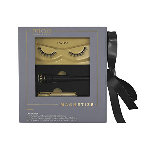 [MIAA BEAUTY] Premium Magnetic Full Strip Magnetic Lashes with Magnetic Eyeliner Kit - with Natural Grapeseed Oil Makeup Remover - Reusable Easy Eyelashes In Seconds - NO MORE MESSY Lash Glue