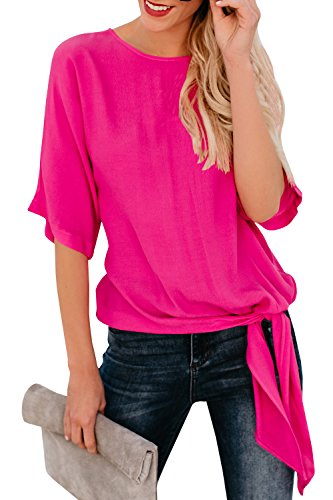 Niitawm Womens Blouses Chiffon Knot Tie Front Shirts and Blouses Loose Fit Half Sleeve Casual T-Shirt Tops Rose