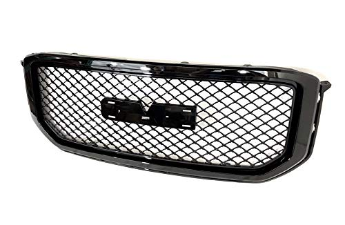 Gldifa Grille Fit 2014-2017 GMC Yukon XL Mesh Denali Style Front Grill Hood ABS Gloss Black Replacement ()