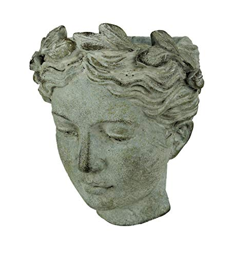 Distressed Cement Classic Greek Lady Head Indoor Outdoor Hanging Planter