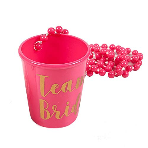 - ller76 Team Bride and Bride to Be Plastic Beaded Bridal Shot Glass Necklace Pink and White with Gold Foil for Bachelorette Party Bridal Party Necklaces(Rose Red)