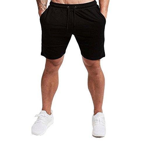 EVERWORTH Men#039s Casual Training Shorts Gym Workout Fitness Short Bodybuilding Running Jogging Short Pants Black M Tag XL