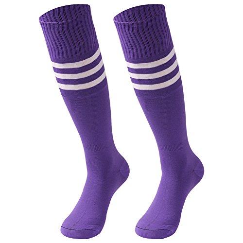 Purple Long Socks, saounisi Men Knee High Socks Colorful Stripe Football Baseball Soccer Sports Tube Team Socks 2 Pairs