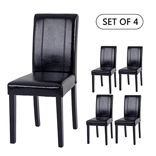 Set of 4 Upholstered Dining Chairs Elegant Design Dining Room Chairs (Black Set of 4)