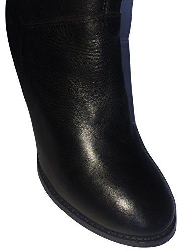 Ginocchio A Alto Duna Sette Tradizionale Trazione Pelle Nero Stivali In Cono Tacco x68tw4g8