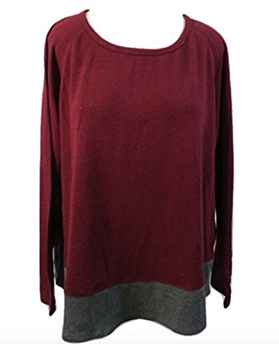 Kersh French Terry Boatneck Pullover Top For Women (S, Bordeaux Mix/Charcoal (Terry Boatneck Top)
