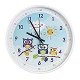 TOHOOYO 12''Cartoon Animals Children's Learn The Time Wall Clock Non-Ticking Colorful Decorative Wall Clock Quiet Wall Clocks Boys Girls Bedroom Decoration(Blue-Owl)
