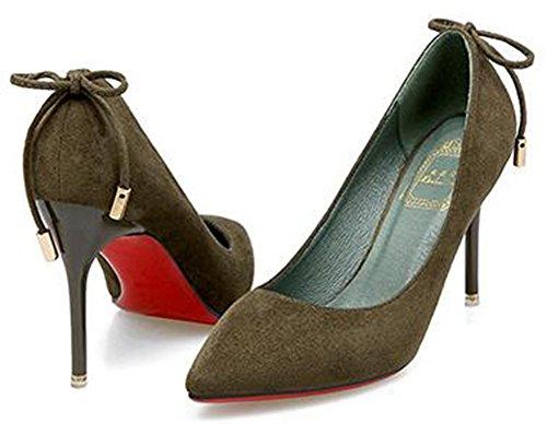 IDIFU Womens Elegant Bows Pointed Toe Faux Suede High Stiletto Heels Pumps Green vkmsqDA